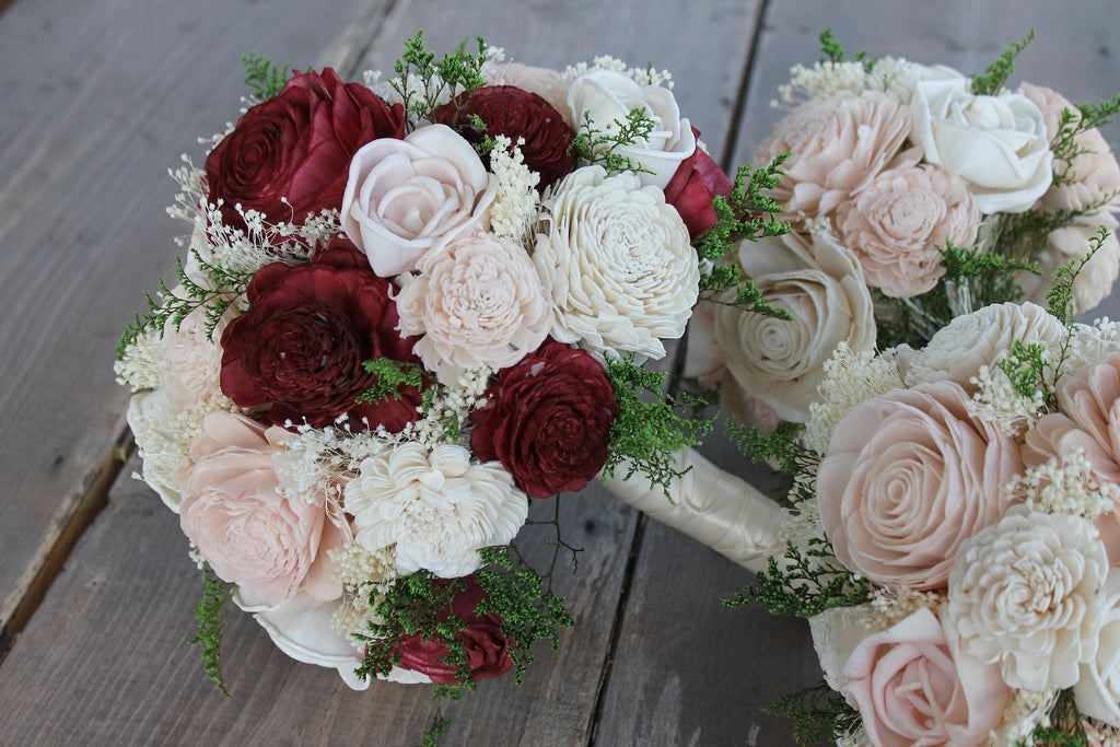 Burgundy & Blush Pink Sola Wood Bouquet, Burgundy, Blush Pink, and Ivory Sola Bouquet, Burgundy Sola Bouquet, Burgundy Wedding Bouquet