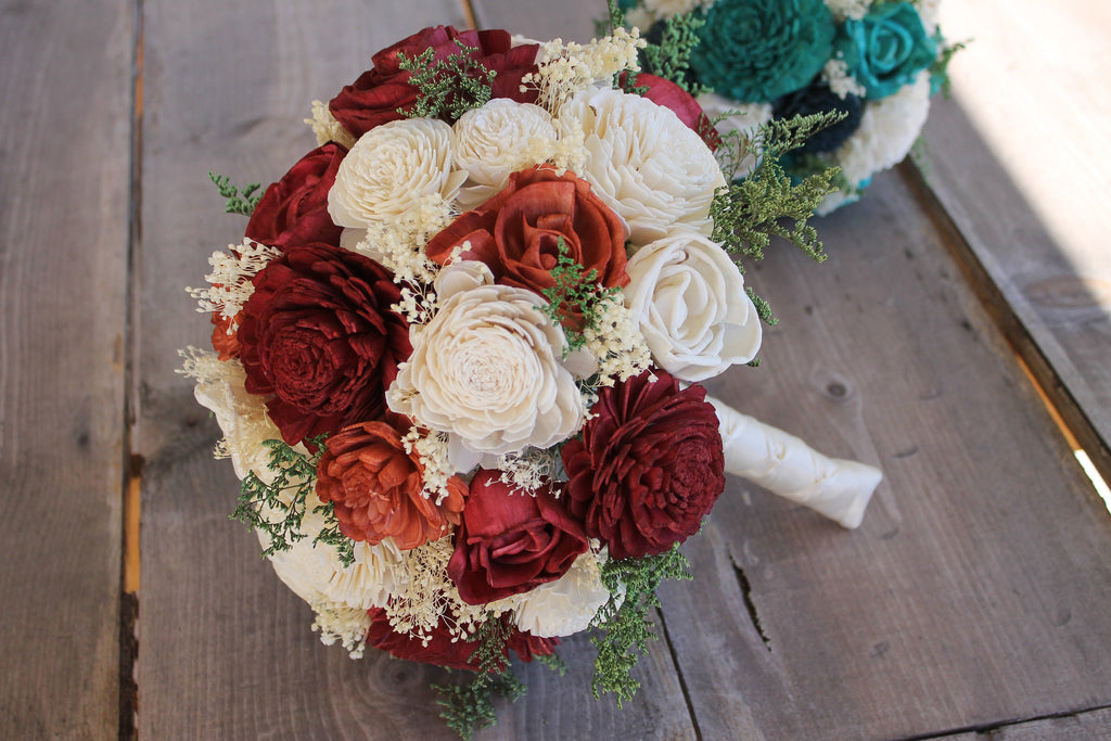 Burgundy, Burnt Orange, & Ivory Sola Bouquet, Burnt Orange Sola Bouquet, Sola Wood Bouquet, Orange Sola Bouquet, Orange Wedding Bouquet