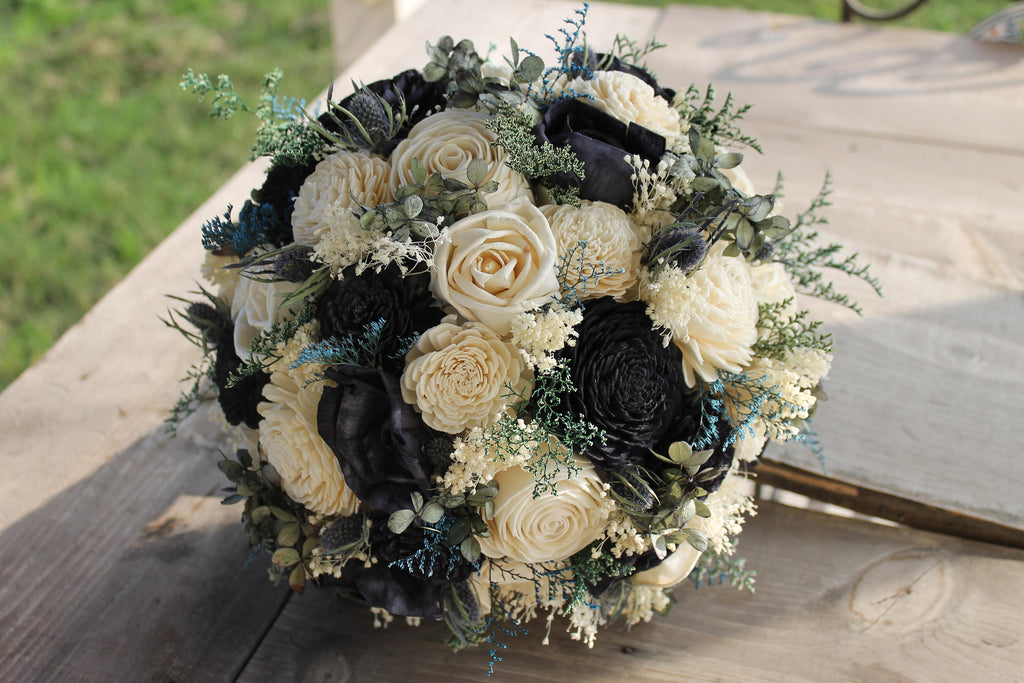 Navy Blue & Ivory Thistle Bouquet, Navy Blue Sola Flower Bouquet, Dried Flower Bouquet, Preserved Flower Bouquet, Navy Blue Sola Flowers