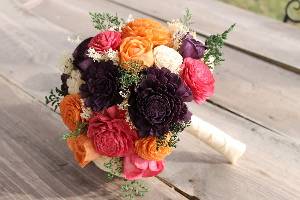 Plum, Fuchsia, Orange, & Ivory Sola Flower Bouquet, Plum Sola Bouquet, Fuchsia Sola Bouquet, Orange Wedding Bouquet, Fuchsia Wedding Bouquet