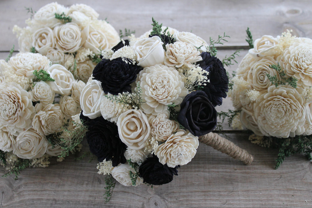 Navy Blue & Ivory Sola Flower Bouquet, Navy and Ivory Sola Bouquet, Navy Blue Sola Bouquet, Navy Wedding Bouquet, Navy Blue Bouquet