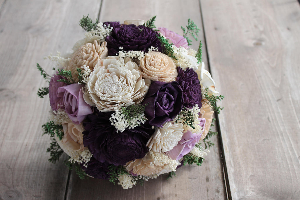 Plum, Lavender, Champagne, & Ivory Sola Flower Bouquet, Plum and Lavender Bouquet, Plum Sola Wood Bouquet, Eggplant Sola Flower Bouquet