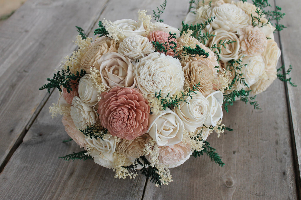 Dusty Rose, Blush Pink, Champagne, & Ivory Sola Wood Bouquet, Dusty Rose and Ivory Wedding Bouquet, Dusty Rose Sola Bouquet, Blush Pink Rose