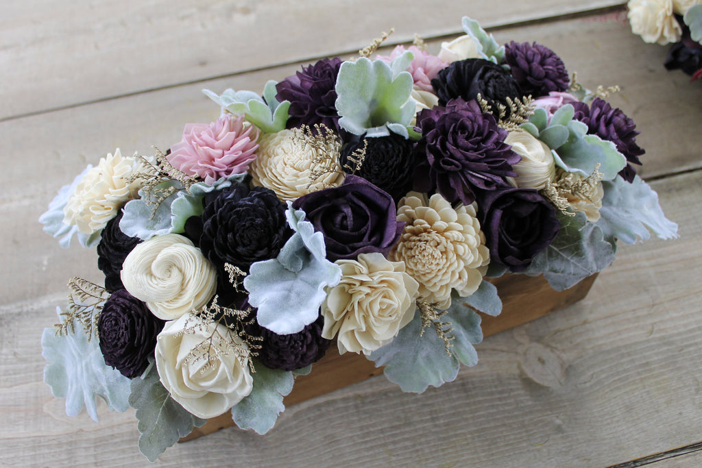 Wood Planter Centerpiece, Plum, Navy Blue, Lavender, & Ivory Dahlia Sola Centerpiece, Dusty Miller Centerpiece, Wedding Table Centerpiece