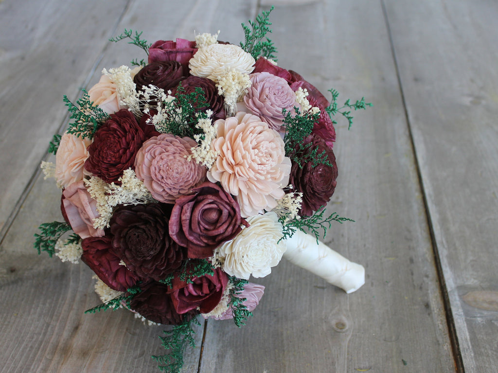 Wine, Sangria, Blush Pink, Antique Mauve, Dusty Purple, & Ivory Sola Wood Bouquet, Wine Sola Bouquet, Pink Sola Bouquet, Wood Flower Bouquet