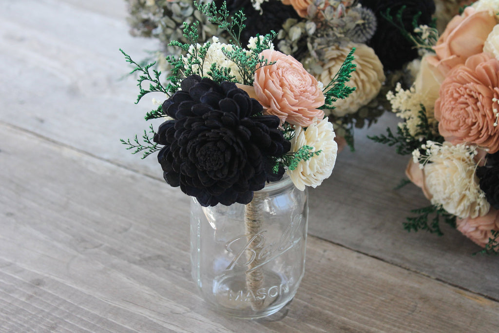 Navy Blue Flower Girl Bouquet, SAMPLE Bouquet, Mason Jar Centerpiece, Jr Bridesmaid Bouquet, Navy Blue, Dusty Rose, & Ivory Toss Bouquet