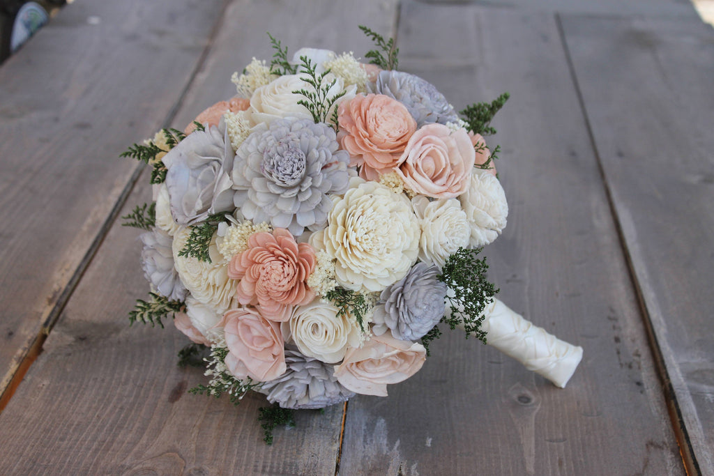 Light Grey, Dusty Rose, & Ivory Sola Wood Bouquet, Dusty Rose and Ivory Wedding Bouquet, Light Grey Ivory Bouquet, Dusty Rose Sola Flowers