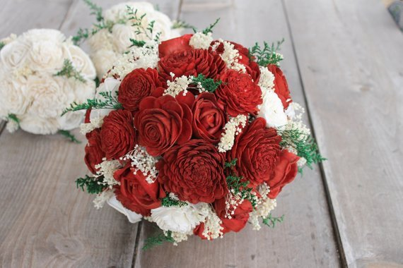 Red Sola Flower Bouquet, Red Rose Wedding Bouquet, Wood Rose Bouquet, Red Wedding Bouquet, Red Wedding Bouquet, Red Rose Bouquet