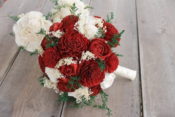 Red Roses Wedding Bouquets.Red Ivory Sola Flower Bouquet Red Rose Wedding Bouquet