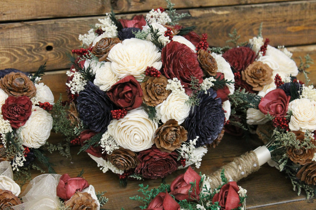 Winter Wedding Sola Bouquet, Burgundy, Navy Blue, & Ivory Cedar Rose Bouquet, Burgundy Sola Flowers, Navy Blue Sola Flowers, Pine Cones