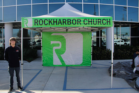 10x10 Pop Up Tent with custom graphics
