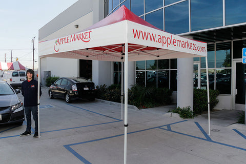Custom pop up tent manufactured for Apple Market