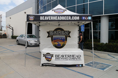 10x10 Brewery Tent with custom graphics and a table cover