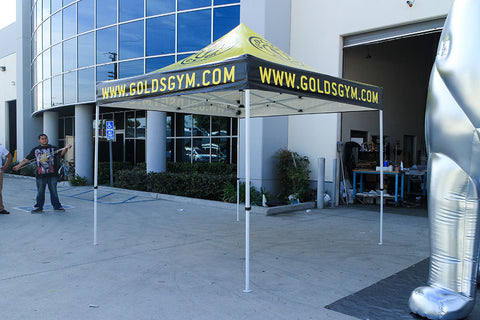 10x10 custom tent manufactured for Gold's Gym