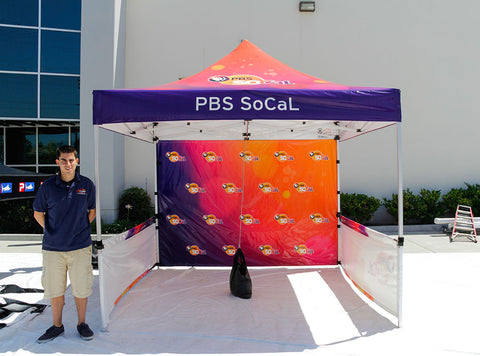 10x10 tent with PBS Branding
