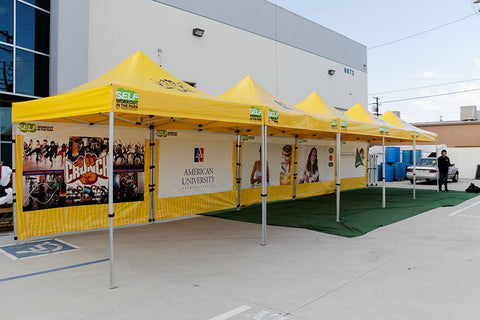 Row of Pop Up Canopies