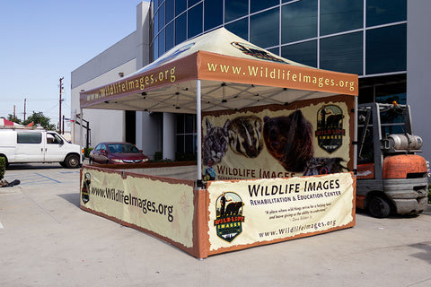 10x15 Pop Up Tent with custom graphics