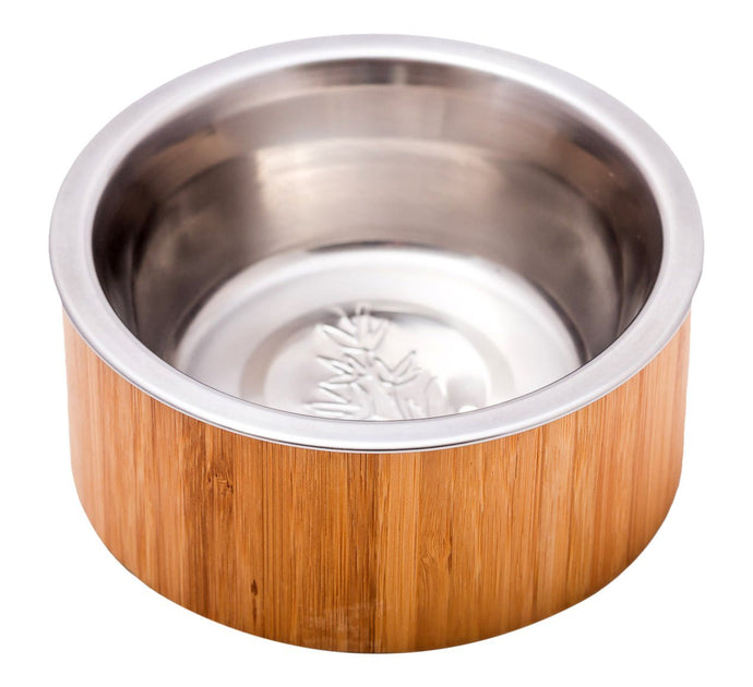 Pet Buddies BBS0201 Bamboo Pet Food Bowl Stainless Steel, 16 oz