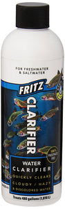 Fritz clarifier rapidly clears water by pulling together (flocculating) fine particles, allowing them to be removed by the filter or settle to the bottom, leaving your aquarium crystal clear.