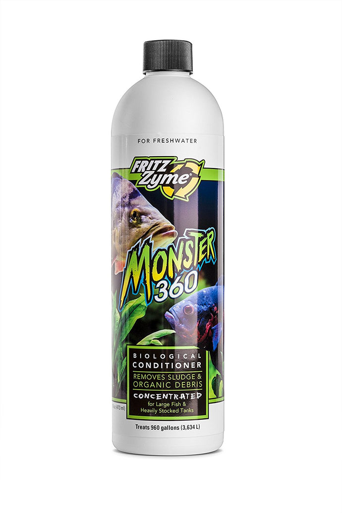 Fritzzyme® monster 360 is a powerful, concentrated probiotic blend of naturally occurring, environmentally friendly, live heterotrophic bacteria capable of digesting organic sludge common in aquariums.