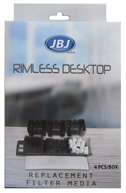 JBJ Rimless Desktop Aquarium Replacement Filter Media, 4-pack