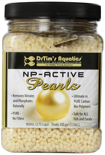 Size:900-mL NP-Active Pearls are a unique and natural way to control nitrate and phosphate in all aquaria. A pure, 100% natural bio-polymer with no fillers made in the USA NP-Active Pearls act as both a carbon source and medium for beneficial bacteria.