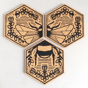 Bumble bee design cork coasters
