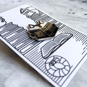 Book Cat Pin Badge