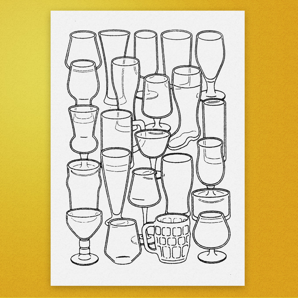 Beer Glasses A3 Screen Print
