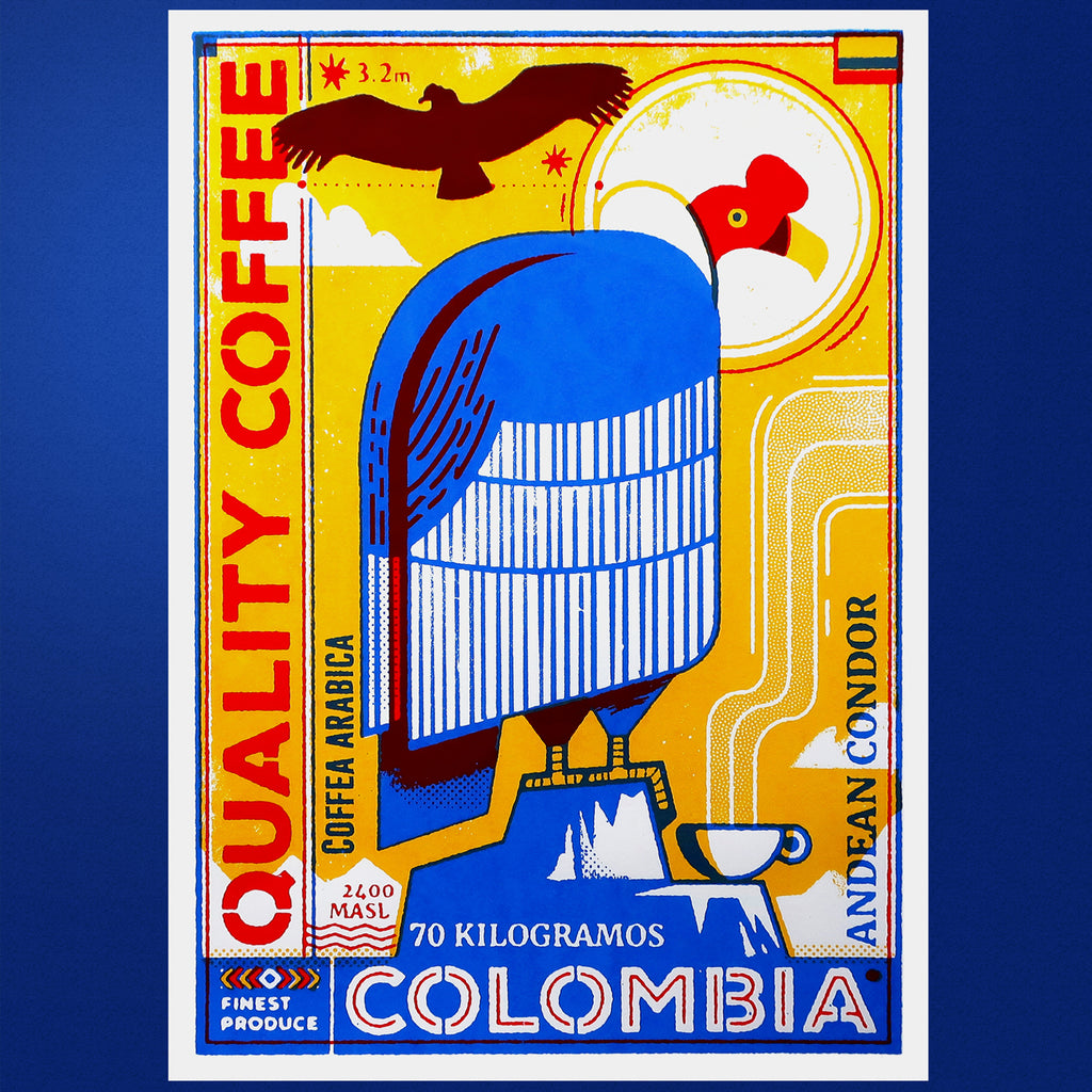 Coffee Birds print - Colombian coffee - Andean Condor