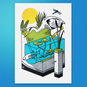 Heron A3 Screen Print