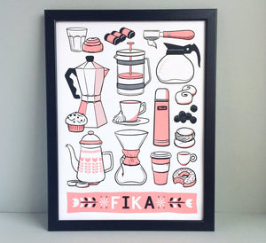 Fika Coffee A3 Screen Print