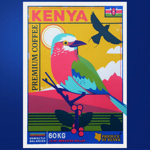 Coffee birds A3 Screen Print - Kenyan Coffee