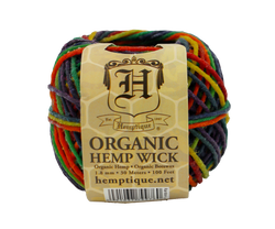 Rainbow Beeswax Hemp Wick Ball (2mm)
