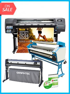 "COMPLETE SOLUTION - Plotter HP Latex 310 - Recertified - (90 Days Warranty) + GRAPHTEC CUTTER FC9000-140 54"" (137.2 cm) Wide Cutter - New + 55"" Full-auto Low Temp. Wide Format Cold Laminator, with Heat Assisted + Includes Flexi RIP Software"