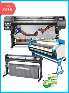 "COMPLETE SOLUTION - Plotter HP Latex 370 - Recertified (90 Days Warranty) + GRAPHTEC CUTTER FC9000-160 64"" (162.6 cm) Wide Cutter - New + Upgraded Ving 63"" Full-auto Low Temp. Wide Format Cold Laminator, with Heat Assisted + Includes Flexi RIP Software"