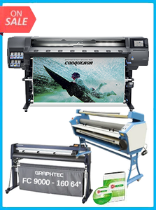 "HP Latex 365 Printer (V7L47A) - New + GRAPHTEC FC9000-160 64"" (162.6 CM) WIDE CUTTER - NEW + UPGRADED VING 63"" FULL-AUTO LOW TEMP. WIDE FORMAT COLD LAMINATOR, WITH HEAT ASSISTED + FLEXI RIP SOFTWARE"