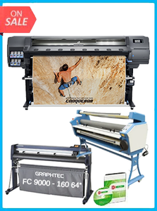 "HP Latex 335 Printer (V7L47A) - New  + GRAPHTEC FC9000-160 64"" (162.6 CM) WIDE CUTTER - NEW + UPGRADED VING 63"" FULL-AUTO LOW TEMP. WIDE FORMAT COLD LAMINATOR, WITH HEAT ASSISTED + FLEXI RIP SOFTWARE"