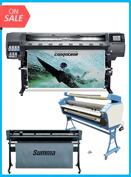 HP Latex 365 Printer (V7L47A) - New + SUMMACUT D160 64 IN (160 CM) VINYL AND CONTOUR CUTTING - NEW + UPGRADED VING 63