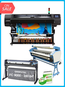 "HP Latex 570 64"" - New + GRAPHTEC FC9000-160 64"" (162.6 CM) WIDE CUTTER - NEW + UPGRADED VING 63"" FULL-AUTO LOW TEMP. WIDE FORMAT COLD LAMINATOR, WITH HEAT ASSISTED + FLEXI RIP SOFTWARE"