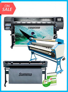 "COMPLETE SOLUTION - Plotter HP Latex 365 New + SummaCut D160 62 in (160 cm) vinyl and contour cutting – New + Upgraded Ving 63"" Full-auto Low Temp. Wide Format Cold Laminator, with Heat Assisted + Includes Flexi RIP Software"
