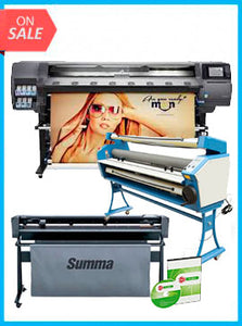 "COMPLETE SOLUTION - Plotter HP Latex 360 - Recertified (90 Days Warranty) + SummaCut D160 64 in (160 cm) vinyl and contour cutting – New + Upgraded Ving 63"" Full-auto Low Temp. Wide Format Cold Laminator, with Heat Assisted + Includes Flexi RIP Software"