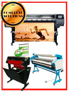 "COMPLETE SOLUTION - Plotter HP Latex 360 - Refurbished - (1 Year Warranty) + 55"" Full-Auto Low Temp. Cold Laminator, With Heat Assisted - New + 53"" 3 ARMS Contour Cut Vinyl Cutter w/ VinylMaster Cut Software - New -  Includes Flexi RIP Software"