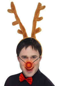 Christmas Rudolf The Reindeer Antlers Bowtie and Flashing Red Nose Kit