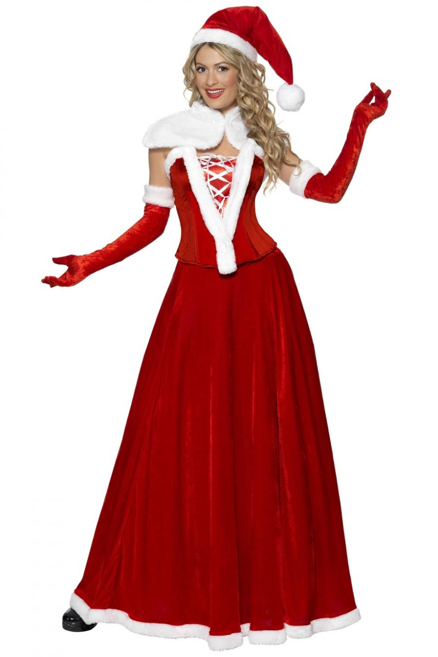 Adult Womens Christmas Luxury Miss Mrs Santa Fancy Dress Costume Dress Hat, Cape, Corset, Skirt and Gloves.