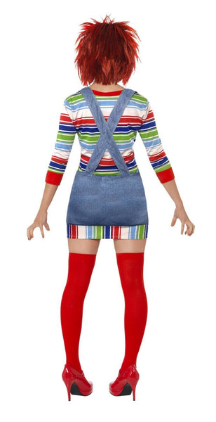 Women's Chucky Childs Play Horror Costume, Jumper, Dungarees, Mask & Wig