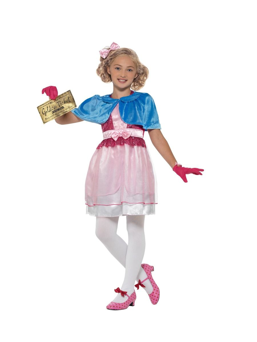 Childrens Deluxe Roald Dahl Veruca Salt Costume - Charlie & The Chocolate Factory (Large)