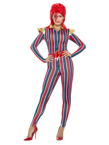 Adult Womens Miss Space Superstar Ziggy Bowie Fancy Dress Costume (Medium and Large)