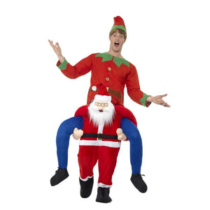 Fancy Dress World - Deluxe Santa Father Christmas Adult Piggyback Costume with FREE Elf Hat 24494 - Red Suit & Mock Legs 48814 SALE