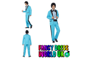 Mens Adult 80's Prom King Fancy Dress Costume with Jacket, Trousers and Mock Tuxedo Shirt - Fancy Dress World UK Ltd